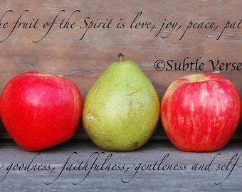 5x10 Inspirational Fruit of the Spirit Plaque - Photography, Scripture, Pears, Apples, Gift