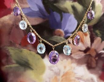 Antique Art Nouveau Necklace 16.40ct t.w. Amethyst Aquamarine Festoon Necklace 9k Gold