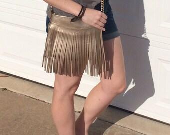 Vegan Metallic Champagne Leather Fringe Crossbody Bag - Gift for her, Birthday, Anniversary, Bridesmaid
