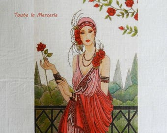 transfer 138.  textile transfer: beautiful lady packed