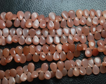 7 Inch Finest Quality,Peach Moonstone Smooth Pear Shape Briolettes, 10mm Calibrated size