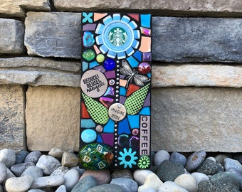 Reduce. Reuse. Recycle. (Original Handmade Recycled Starbucks Cap Flower Mosaic by Shawn DuBois)
