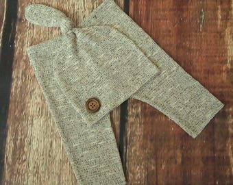 New! RTS Light Brown Newborn Baby Boy Photo Pant and Knot Hat Set!
