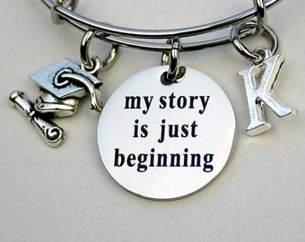 """Graduation Gift """" My Story Is Just Beginning ,"""" Engraved Charm , Personalize, Graduation Hat w/Diploma , Adjustable Bangle, Charm Bangle"""