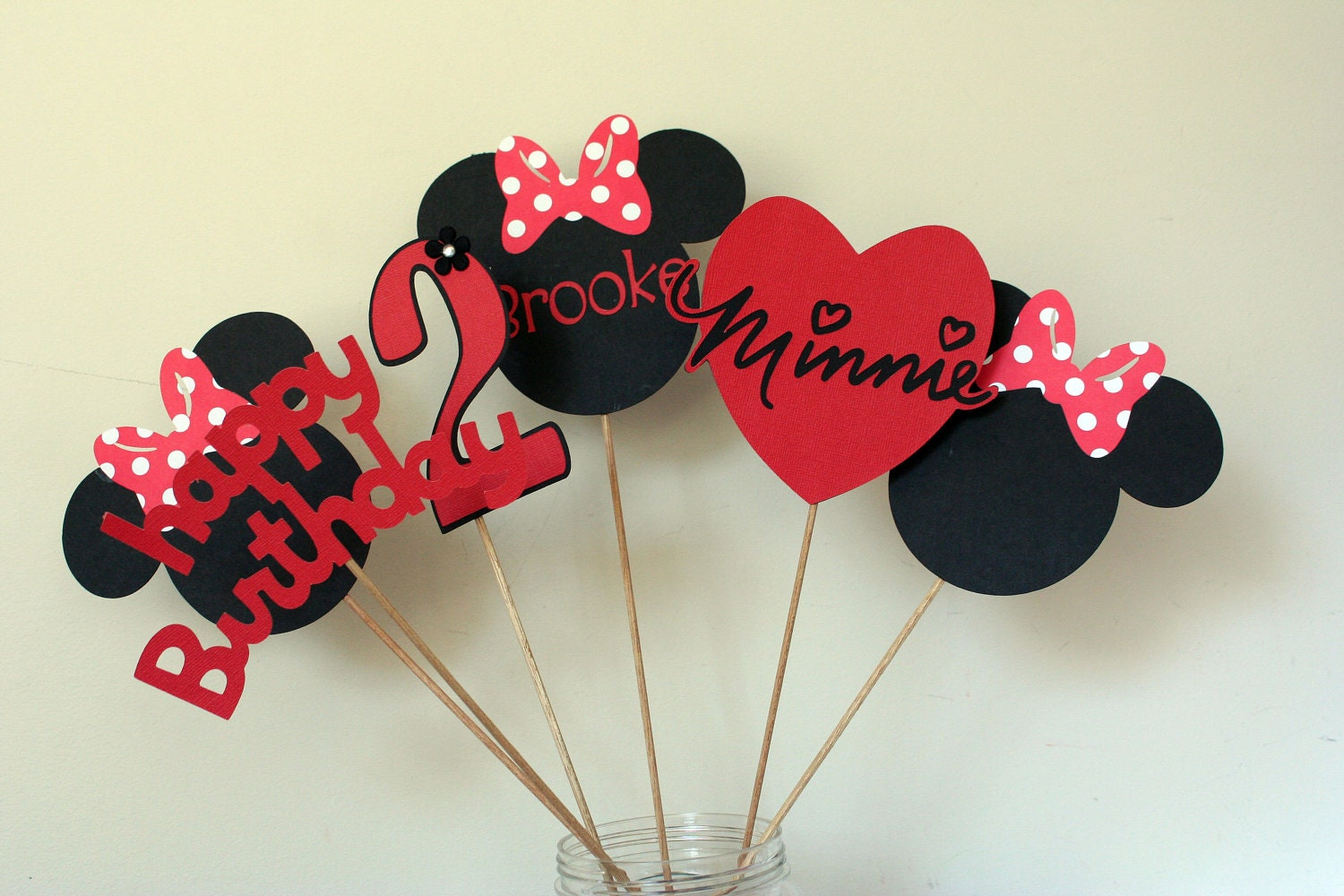 6 Piece Minnie Mouse Centerpiece Red White And Black