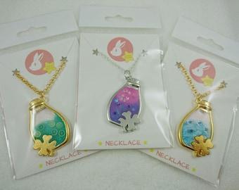 Kawaii Clover Bottle Pendant Necklaces