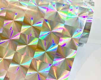 "Silver 1.5"" Mosaic Holographic 12 inch x 10 feet, Craft & hobby Cutting Vinyl Film,"
