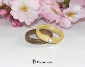 Ring bearer wedding or engagement in walnut and Maple with diamond-rings-wood-made to the handmade wood ring curved