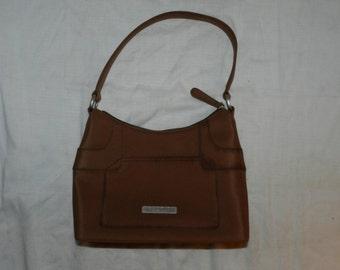 Kenneth Cole Reaction Purse / Handbag - 100% Polyester - Brown - Designer Purse - Vintage Ladies Fashion - Retro Designer bag           45-4