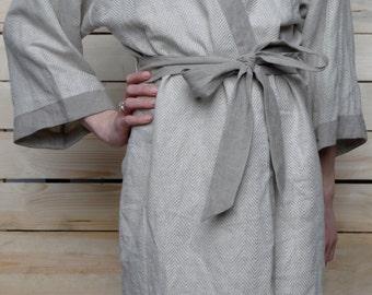 Luxury Bath Robe- Kimono in Herringbone Design Softest Lithuanian Linen/ Linen Gown/ Flax Robe/ SPA Robe Linen/ Eco Nightwear