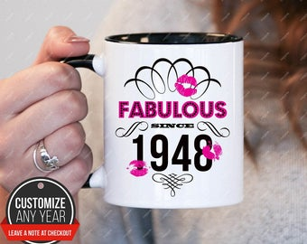 Fabulous Since 1948 70th Birthday Gifts For Women Gift Mug Mens