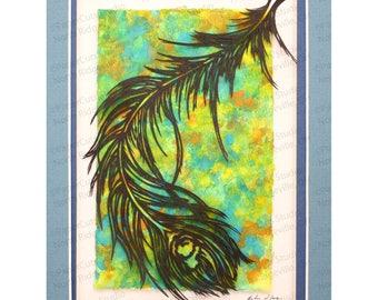 Handcut original papercutting, Feather I