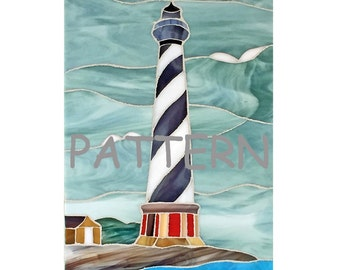 Stained glass PATTERN, Cape Hatteras Lighthouse, for stained glass or mosaic.