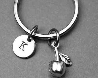 Apple keychain, apple charm, fruit jewelry, personalized apple charm, personalized keychain, initial charm, initial keychain, monogram
