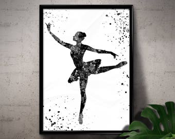 Black and White Ballerina Watercolor, Ballet Dancer, Performing Art, Home Decoration, Printable Wall Art, gift, Instant Download (06)