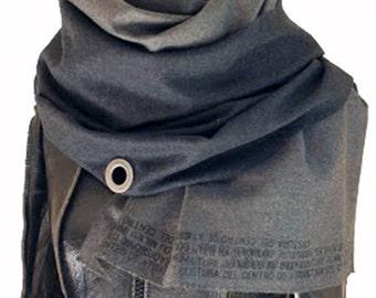 009 gray wool printed scarf, men's women's winter accessories, long scarves008