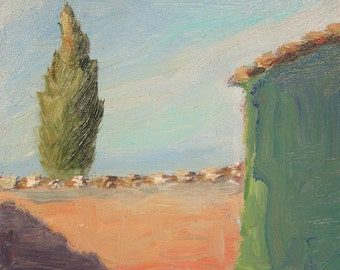 Cypress Original painting, oil impressionist, blue sky, Italy Tuscany, Sessa