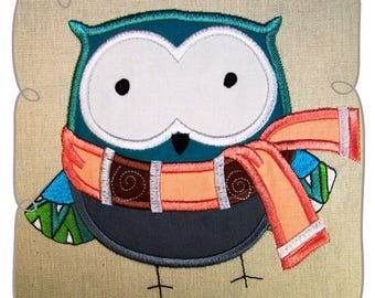 Winter WIlly Owl Applique Machine Embroidery Design Pattern-INSTANT DOWNLOAD