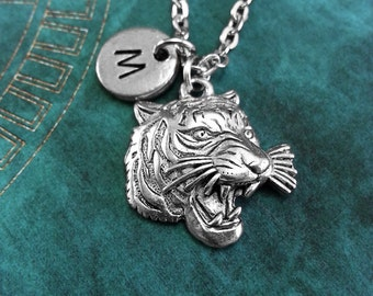 Tiger Necklace, Personalized Necklace, Tiger Pendant, Custom Necklace, Animal Jewelry, Monogram Necklace Tiger Charm Necklace Silver Jewelry