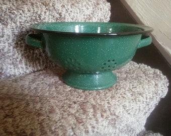 Vintage Green and Black Enamelware Strainer - Vintage Strainer - Green and Black Strainer - Strainer - Planter - Colander