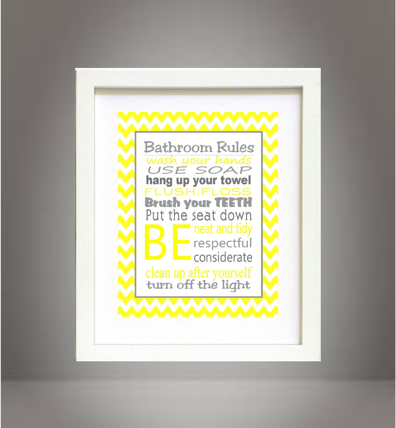 Gray and Yellow Chevron Bathroom Rules Wall Art Poster 8x10 Digital ...