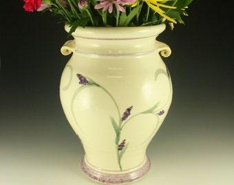 Large Lavender Vase, Handmade Pottery Vase