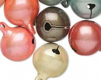 10 Pack of Bells, Catseye, Assorted colors, 16mm with a 2mm top loop
