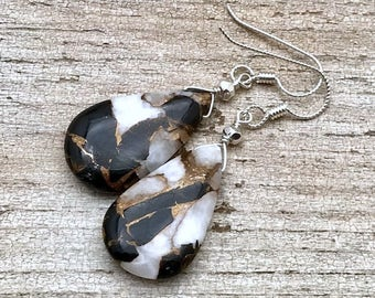 Ivory and Copper Obsidian Briolette Dangle  Minimalist  Earrings  Rare Glam for Her Under 150  Pear Shape Free Gift Wrap