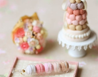 Dollhouse Food Miniatures - Assorted Pink Macarons in Cellophane Wrapping - Dollhouse Miniature Pink Pastries