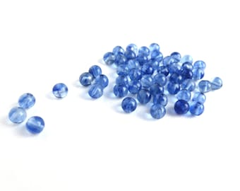50 Pcs - Glass Round Beads - Denim Blue - 4mm