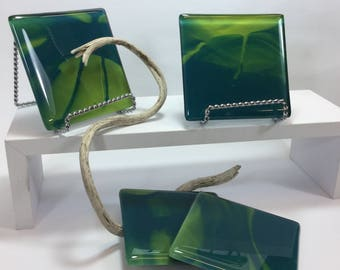 Elegant Hostess Dining, Bar Ware, Drinks Coasters in  green, Gift For Her, Hostess Gift, Set Four Fused Glass Coasters,