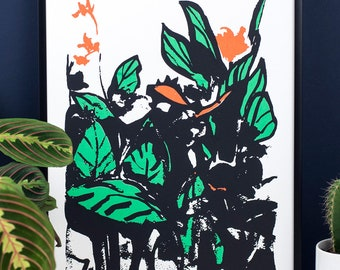 Canna Lily, screen print. Floral print. Flower art. Tropical plant. Art print. Lily print. Wall art. Black, orange, green. Hand printed.