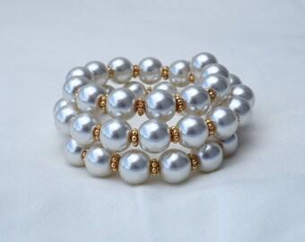 White Pearl Memory Wire Wrap Bracelet, 3 Strands