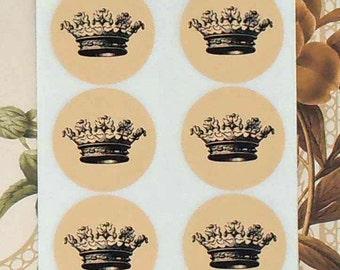 Vintage Style Handmade Stickers Envelope Seals Black Crown Party Favor Treat Bag Sticker SP052