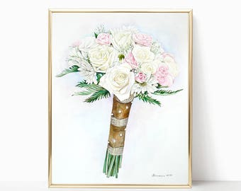 LARGE Wedding Bouquet Painting ORIGINAL Watercolor Custom Bridal Bouquet Painting  Gift for Her Anniversary Gift Custom painting from photo