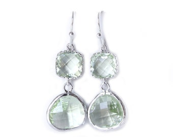Chrysolite Earrings Silver Green Glass Earrings Chrysolite Green Earrings Green Bridesmaid Earrings Silver and Green Jewelry Mint Bridesmaid