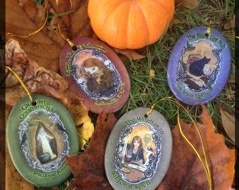 Set of Four Halloween, Samhain Ornaments