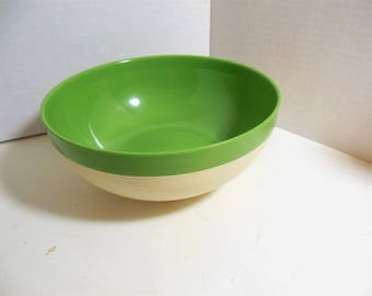 Vintage Thermo Temp Raffiaware Large Serving Bowl, Green / Cream