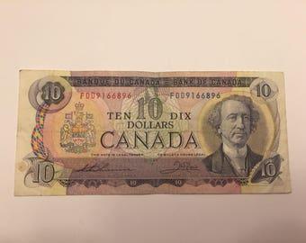 1971 Canadian Ten Dollar Bill