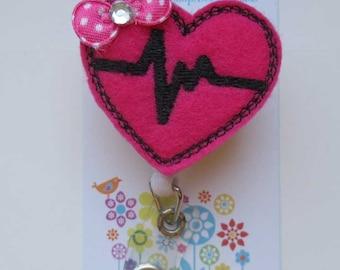 EKG Heart  Badge Reel - Retractable Badge Reel -ID Badge Reel