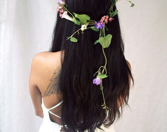 Wildflower crown, boho floral crown, flower hair vine, woodland circlet, nymph crown, flower halo, natural hair wreath, whimsical wedding