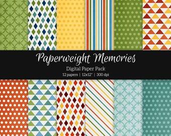 "Digital patterned paper - Squared Away -  digital scrapbooking - scrapbook paper - 12x12"" 300dpi  - Commercial Use"