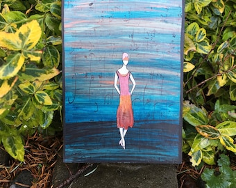 Art Deco Acrylic and Flower Petal Painting