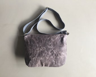 taupe grey waxed canvas crossbody bag - waxed cotton bag - taupe shoulder bag - sturdy minimal everyday bag - zipper closure messenger bag