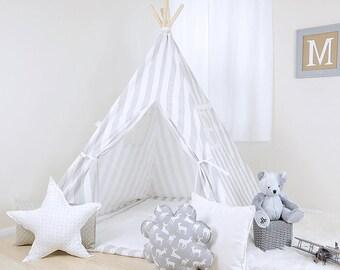 Canopy French Gray / teepee for kids / kids teepee / children teepee / teepee tent / play teepee / toddler tent / play tent / kids tent