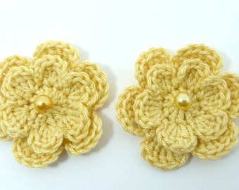 Crochet applique, 2 yellow two-layer crochet flowers, cardmaking, scrapbooking, appliques, handmade and sew on patches embellishments