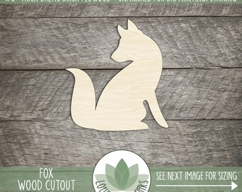 Fox Wood Cut Out Shape, Unfinished Wood Fox, Laser Cut Shapes, DIY Craft Supply, Many Size Options, Blank Wood Shapes