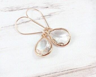 Crystal Earrings, Gemstone Earrings, Rose Gold Earrings, Minimalist Earrings, Rose Gold Filled, Small Earrings, April Birthstone Jewelry,