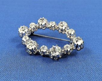 Austrian Crystal Brooch, Prong Set Stones, Made in Austria, Collectible Jewelry, Vintage Estate Jewelry, Costume Jewelry