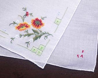 White cotton vintage handkerchief with petit point embroidery